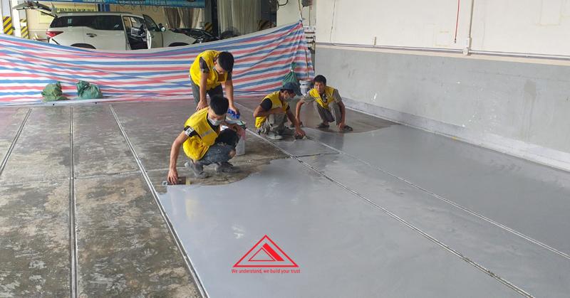 sơn nền epoxy tại công ty Toyota hiroshima Vĩnh Phúc
